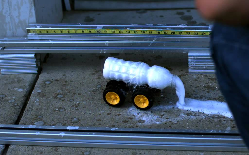 Rocket Car Running With Baking Soda And Vinegar And Recorded With A