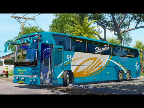 Night Trip With Rain In Scania  Metrolink Bus| ICRF Reloaded V2 |Ets2 V1.35| Gameplay..