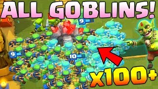 'GOBLIN ARMY' WORLD RECORD CHALLENGE ! MOST GOBLINS ON ARENA | CLASH ROYALE FUNNY TROLL