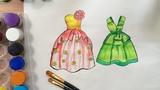 How to draw fashion clothes for kids | How to draw dresses for kids 8 | Art for kids