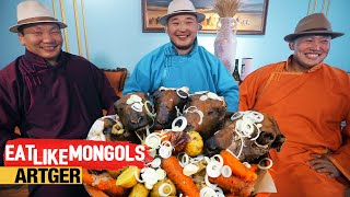 Sheep Head Feast for Mighty Mongolian Wrestlers - Mukbang Style | Eat Like Mongols
