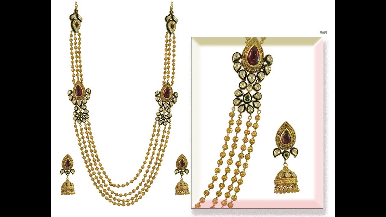 New Model Gold Chandraharam Necklace Collections
