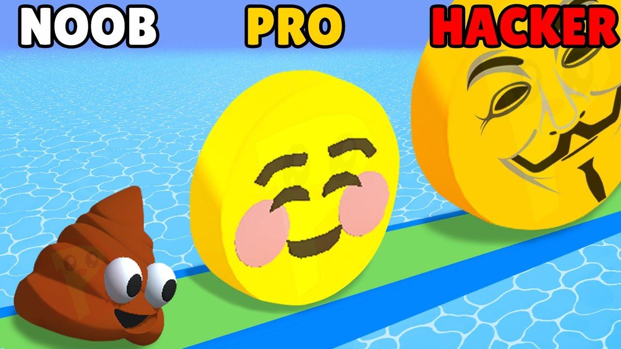 NOOB vs PRO vs HACKER in Emoji Run!