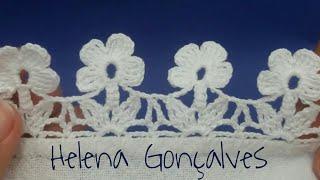 Bico de crochê flores – Passo a passo