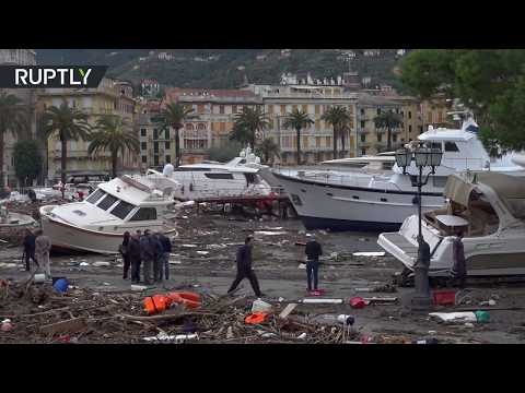 Beached yachts & motorboats: Italian seaside town ravaged by