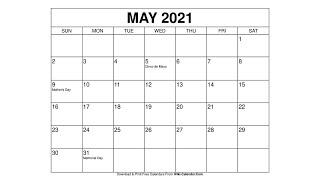 Blank Calendar May 2022.Free Printable May 2021 Calendars