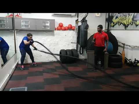 battle rope crossfit at nagpur SPL GYM ,women power