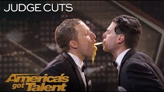 Human fountains spitting to each other - Funny America's Got Talent 2018 Auditions