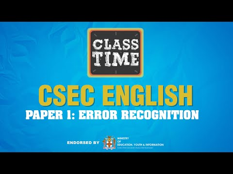 CSEC English | Paper 1: Error Recognition - June 16 2021