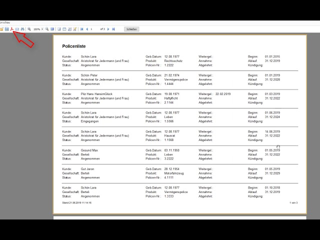 Listen drucken / auf Excel kopieren