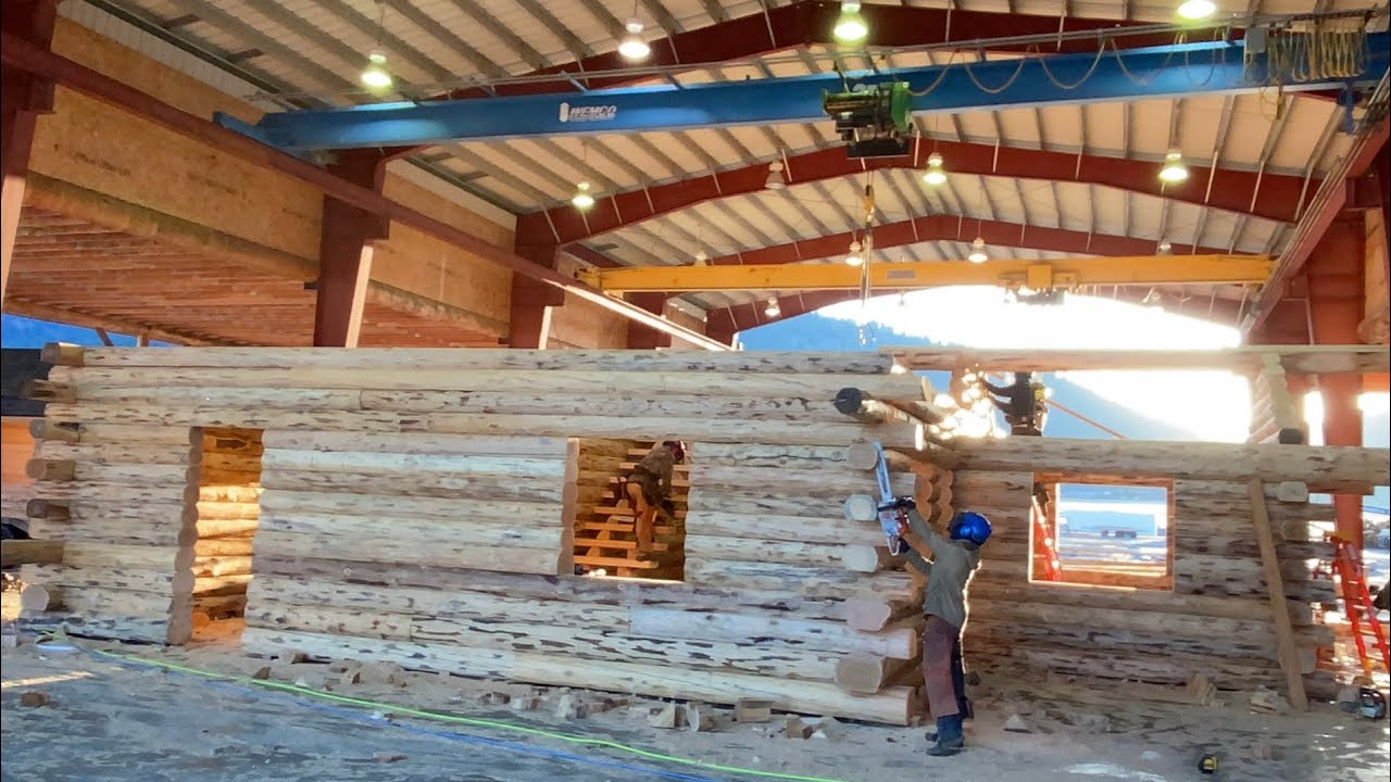 Log Home Pre-Assembly at Meadowlark- Wilderness Hideaway