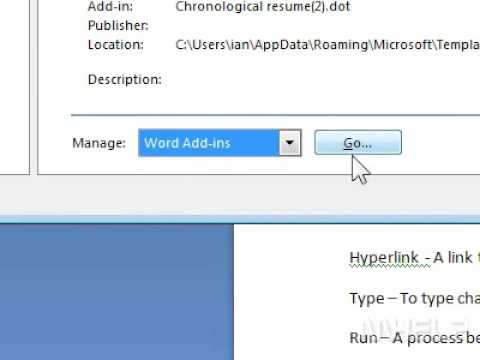 How to load or unload a template or add in in Word