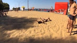 Kid Fails Double Flip Off Swingset On Beach