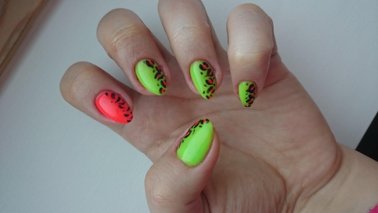 Neonowe Paznokcie Paznokcie Hybrydowe Neon Nails Youtube