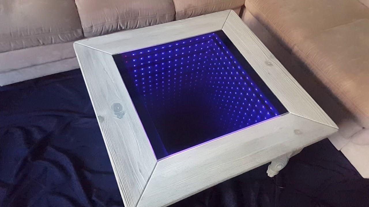 Infinity 3d Led Couchtisch Abgeflammt Gebürstet Und Lasiert Youtube