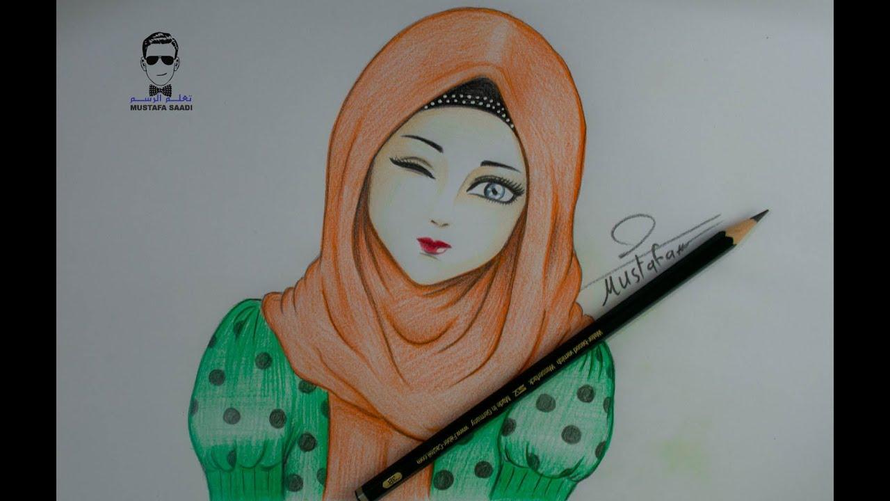 Drawing Girl With Hijab رسم فتاة انمي بالحجاب Youtube