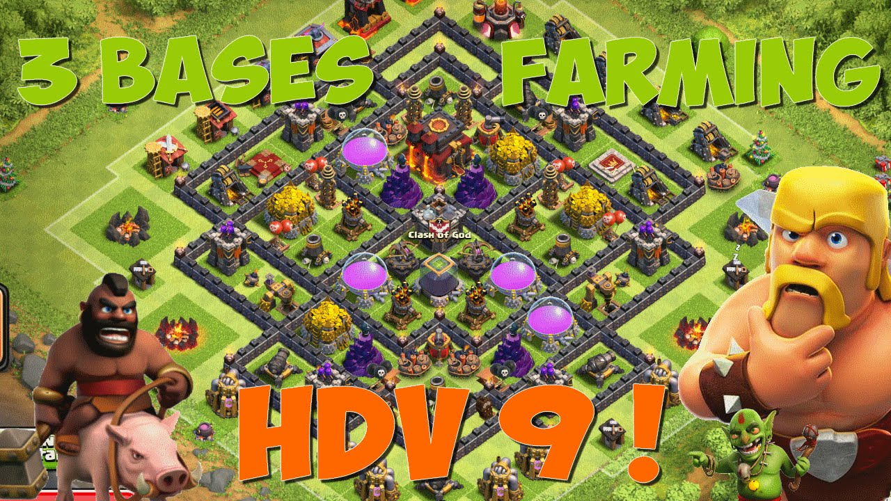 3 bases farm hybride hdv 9 apres mise a jour hdv 11 clash of clans fr youtube. Black Bedroom Furniture Sets. Home Design Ideas