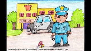 How to Draw a Policeman outside Police Station Scene - Step by Step