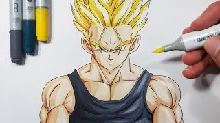 How To Draw Future Trunks Super Saiyan - Tutorial