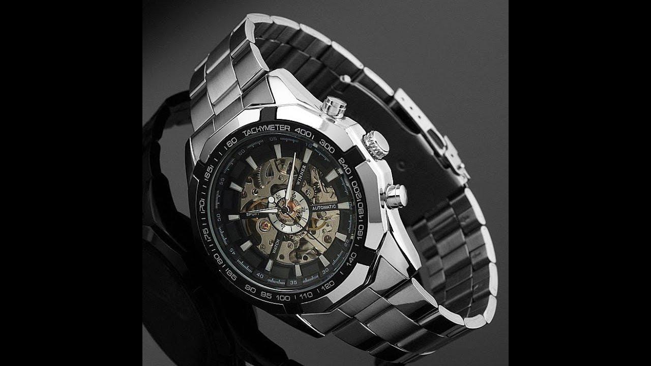 Часы брендовые мужские Skeleton Winner - YouTube