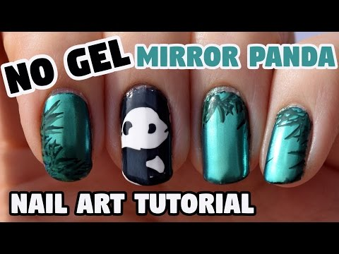 NO GEL -- Panda Mirror Nail Art Tutorial