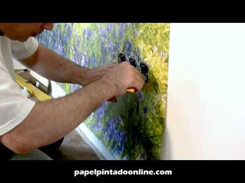 Colocacion murales autoadhesivos youtube - Como pegar papel pintado ...