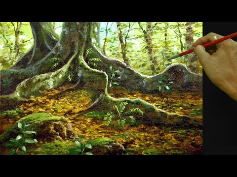 Acrylic Landscape Painting Tutorial Tropical Forest Floor and Big Tree with Big Roots and Ferns