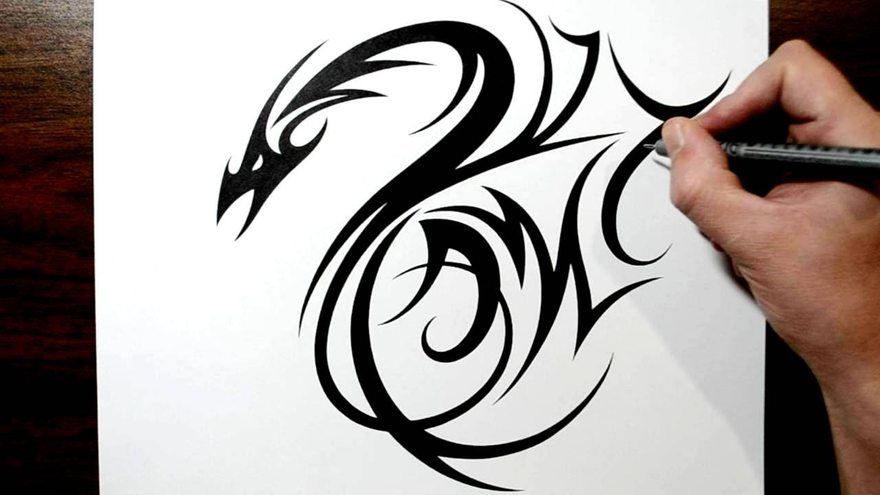 drawing a tribal dragon tattoo design with initials am incorporated youtube. Black Bedroom Furniture Sets. Home Design Ideas