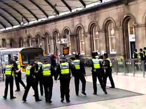 Newcastle fans riot in Newcastle train station