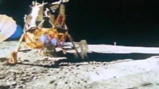 Apollo 14 EVAs 3: Mitchell climbs down the ladder (filmed by Shepard)