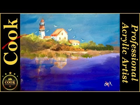 Lighthouse At the Edge of the World a Beginning Acrylic Lesson