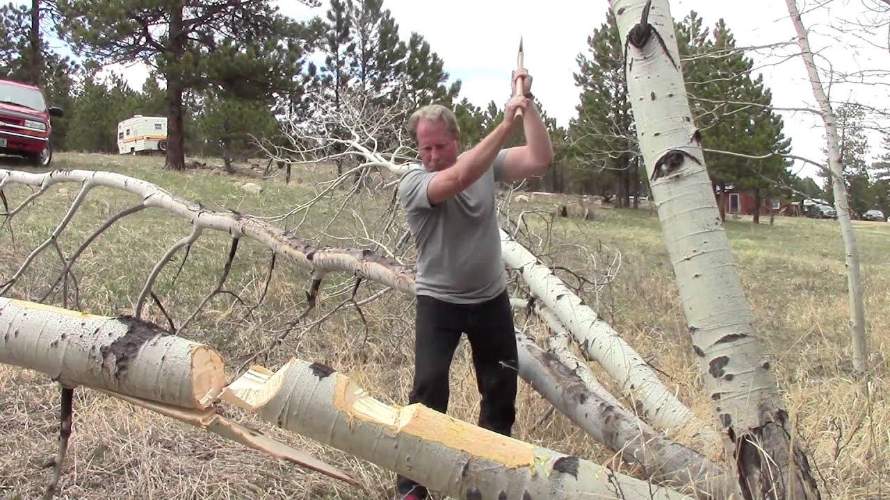 Axe cuts through Dense Fallen Tree - YouTube