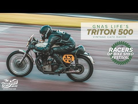 Gnas Life's Triton 500 vintage cafe racer - Racers of Bike Shed Festival - YouTube