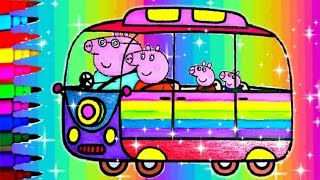 PEPPA PIG DISNEY POOH Compilation Coloring Book Pages Sparkle Rainbow Van Tigger Pooh Piglet Eeyore