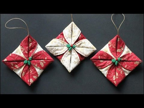 folded fabric ornaments - Christmas Decorations To Make With Sewing Machine