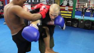 muay thai kickboxing w trainer rodger woodcook at jmtk mma training facility in wichita ks
