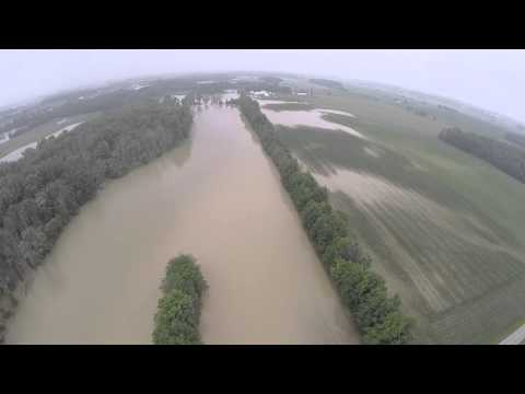 Wabash River Flooding on the Ohio & Indiana State Line - June 2015