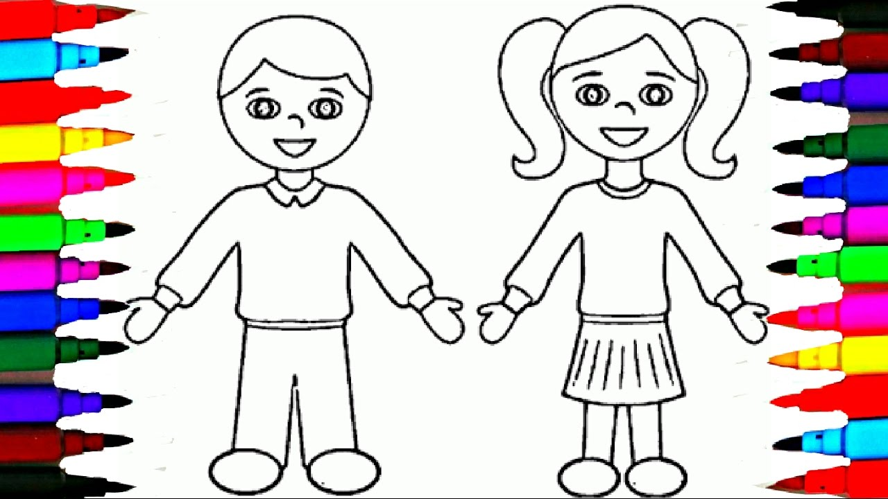 school girl and boy coloring pages l kids drawing coloring videos