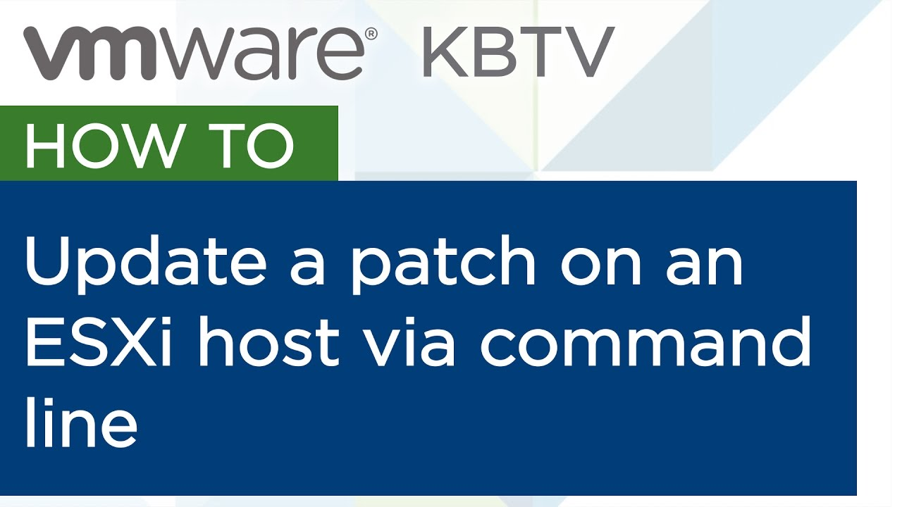 """Updating patches on an ESXi host using """"esxcli software vib"""" commands"""