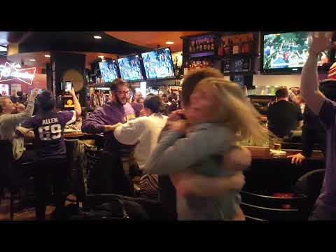 Vikes Fans Go Crazy in Downtown Hopkins, MN: Vikings Win Division Playoff Game - 1/14/2018