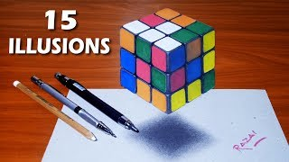 Top 15 Amazing Optical Illusions Compilation - 3D drawings Art [ Must Watch ]