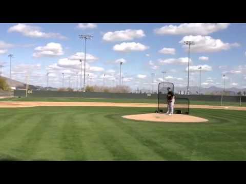 Joey Devine throws batting practice