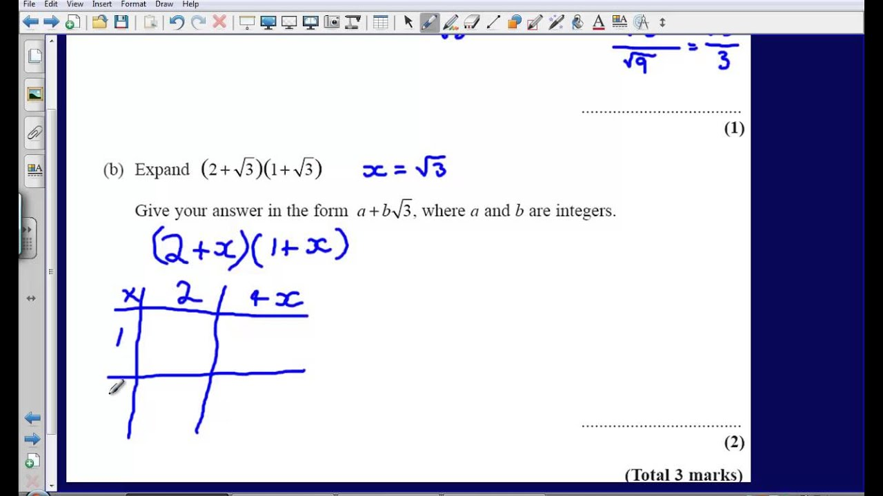 Surds Question 23 Edexcel Gcse Maths 2008 Non Calculator Solution