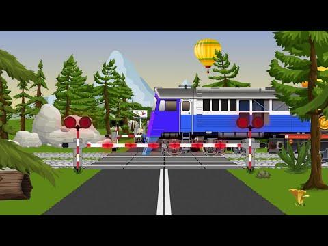 Railroad crossing and trains for children. Pociągi, szlabany kolejowe dla dzieci.