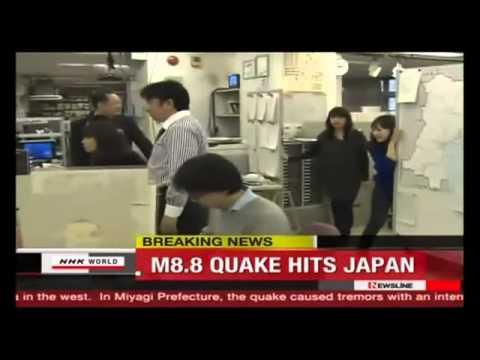 Original 3/11/2011 Video: News Room in Sendai (Japan 2011) - 7.0 Earthquake NOT 9.0!