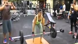 Samantha hot weight lifting in gym