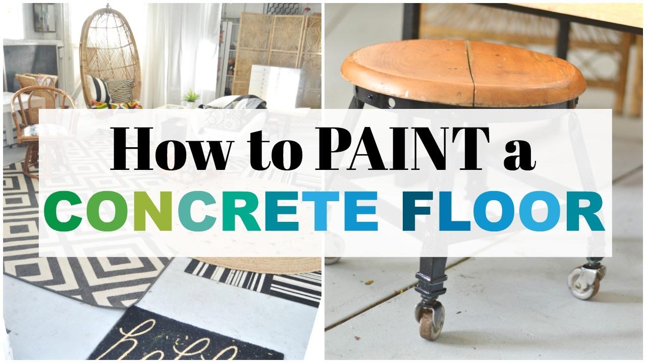 How to paint a concrete floor youtube tyukafo