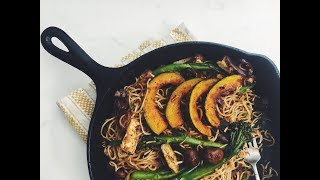 VEGAN CHOW MEIN WITH KABOCHA SQUASH RECIPE?! LIVE EP #4 | hot for food