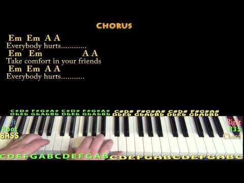 Everybody Hurts (R.E.M.) Piano Cover Lesson with Chords/Lyrics