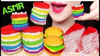 ASMR MINI RAINBOW CAKE POP, HAMBURGER GUMMY, CREPE CAKE 미니 레인보우 케이크팝, 햄버거 젤리 먹방 EATING SOUNDS